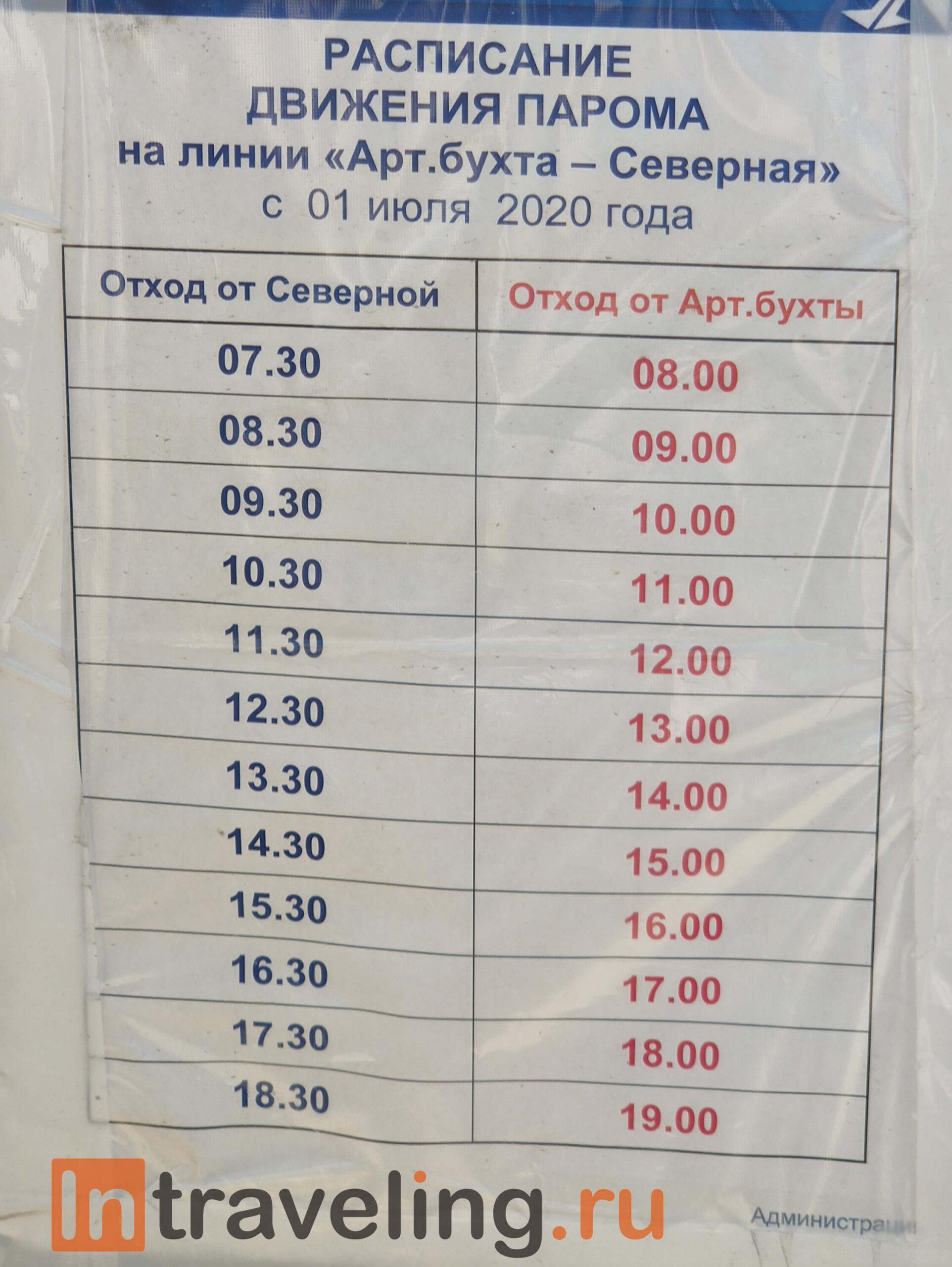 паром севастополь северная расписание